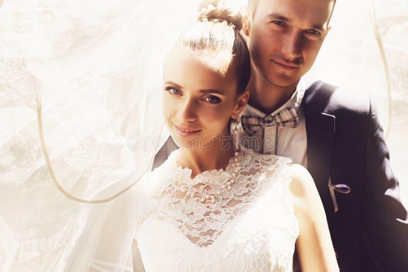 Νεόνυμφος και νύφη κάτω από το πέπλο στοκ εικόνες
