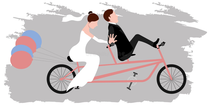 Νεόνυμφος και νύφη σε ένα ποδήλατο ζευγάρι ακριβώς παντρεμέν&o διανυσματική απεικόνιση