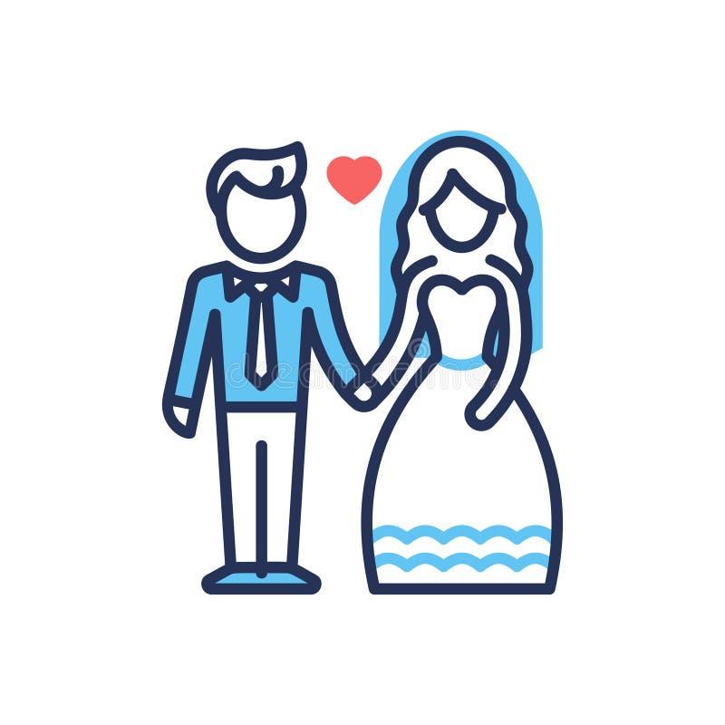 Νεόνυμφος και νύφη - σύγχρονο διανυσματικό εικονίδιο σχεδίου γραμμών απεικόνιση αποθεμάτων
