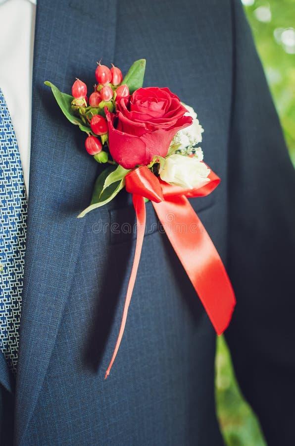 Νεόνυμφος μπουτονιέρων, γάμος στοκ φωτογραφία