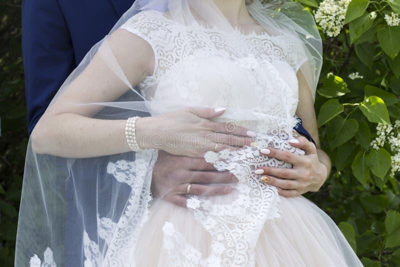 Νεόνυμφος στο κοστούμι και νύφη στο γαμήλιο φόρεμα στοκ εικόνες με δικαίωμα ελεύθερης χρήσης