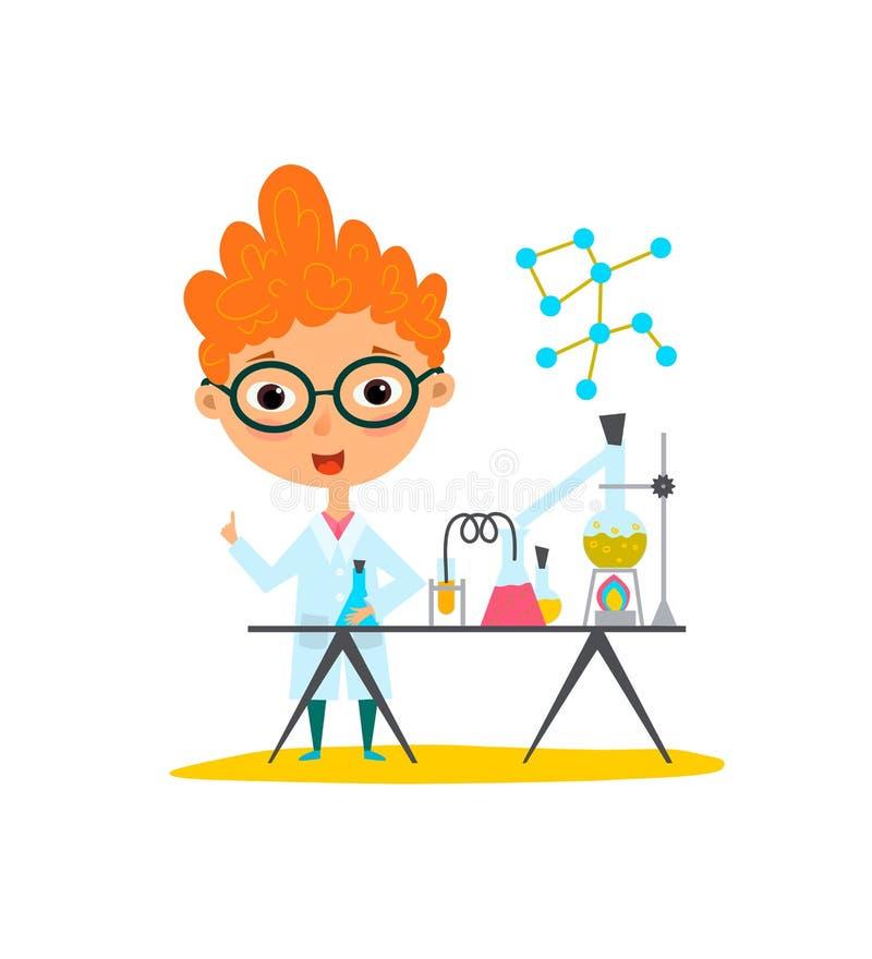 Νεώτερο παιδί μωρών επιστημόνων που κάνει τα πειράματα χημείας Φιάλη εκμετάλλευσης και σωλήνας δοκιμής στα χέρια Επίπεδο illustra ελεύθερη απεικόνιση δικαιώματος