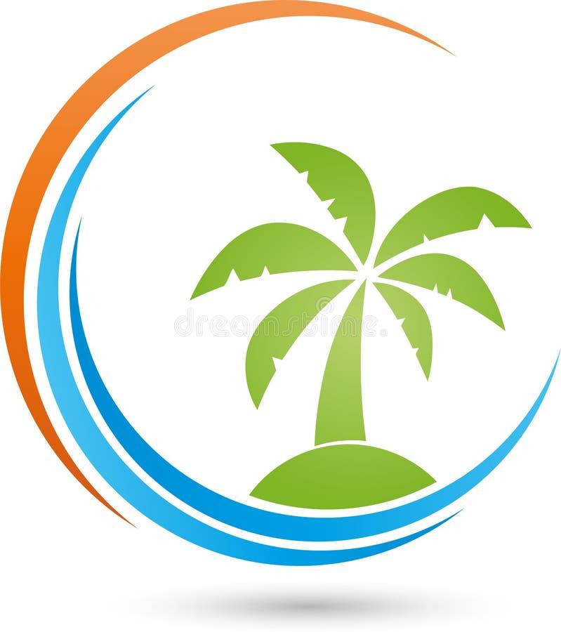 Νησί, ήλιος και φοίνικας, τροπικό λογότυπο νησιών απεικόνιση αποθεμάτων