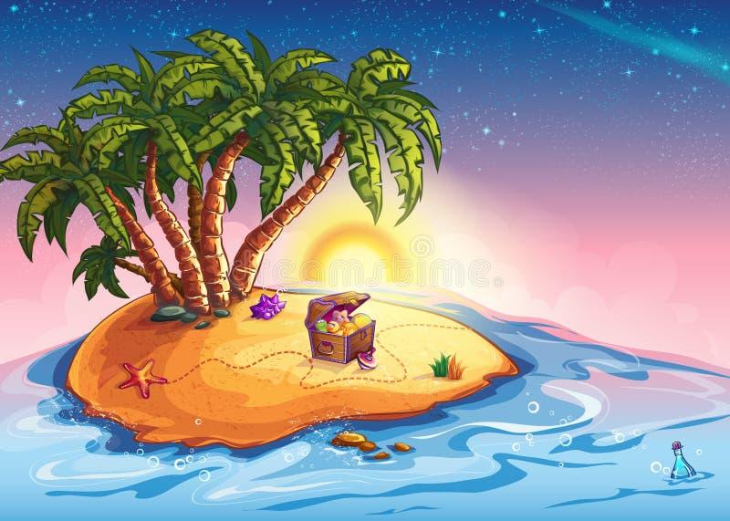 Νησί απεικόνισης με τους φοίνικες και ένα στήθος θησαυρών απεικόνιση αποθεμάτων