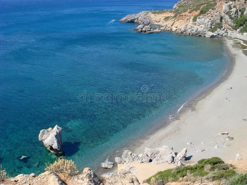 Νησί Ελλάδα της νότιας Κρήτης του Palm Beach Preveli που καταπλήσσει το θερινό  στοκ εικόνες με δικαίωμα ελεύθερης χρήσης