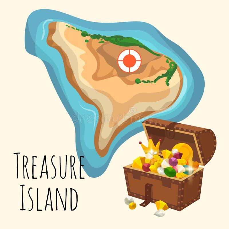 Νησί θησαυρών με το στήθος της χρυσής κορώνας, των πολύτιμων πετρών και του χρυσού Διάνυσμα ιστοσελίδας ή παιχνιδιών πειρατών παι διανυσματική απεικόνιση