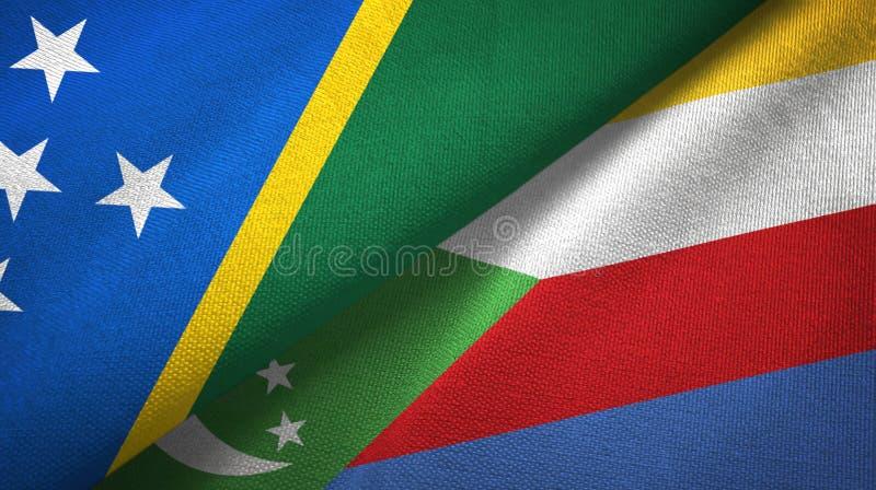 Νησί και Κομόρες δύο του Solomon υφαντικό ύφασμα σημαιών, σύσταση υφάσματος διανυσματική απεικόνιση