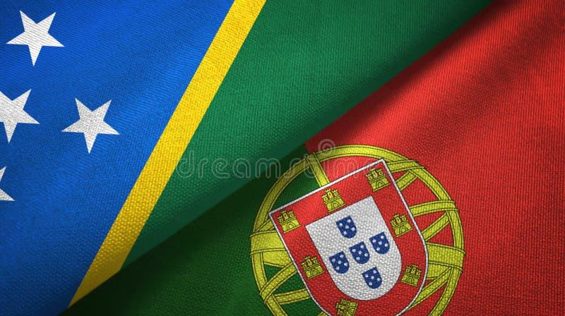Νησί και Πορτογαλία δύο του Solomon υφαντικό ύφασμα σημαιών, σύσταση υφάσματος διανυσματική απεικόνιση