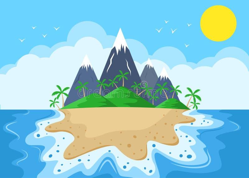 Νησί κινούμενων σχεδίων με τα βουνά και τους φοίνικες απεικόνιση αποθεμάτων