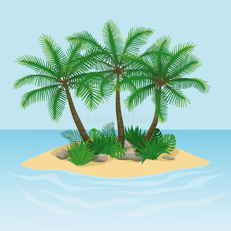 Νησί με τους φοίνικες, τους βράχους και τις πέτρες απεικόνιση αποθεμάτων