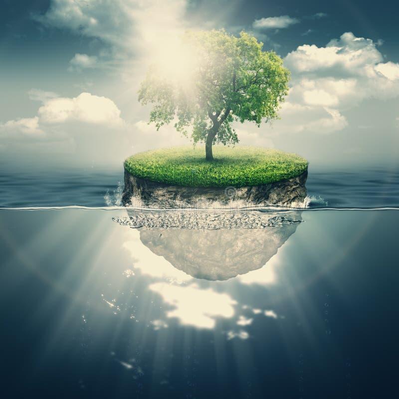 Νησί ομορφιάς στον ωκεανό ελεύθερη απεικόνιση δικαιώματος