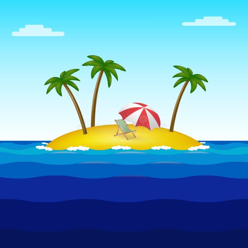Νησί παραδείσου στη μέση του ωκεανού με τρεις φοίνικες, ένα μόνιππο longue και μια ομπρέλα απεικόνιση αποθεμάτων