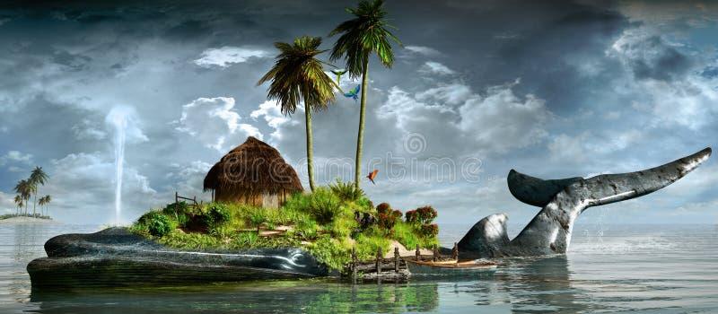 Νησί στην πλάτη μιας φάλαινας ελεύθερη απεικόνιση δικαιώματος