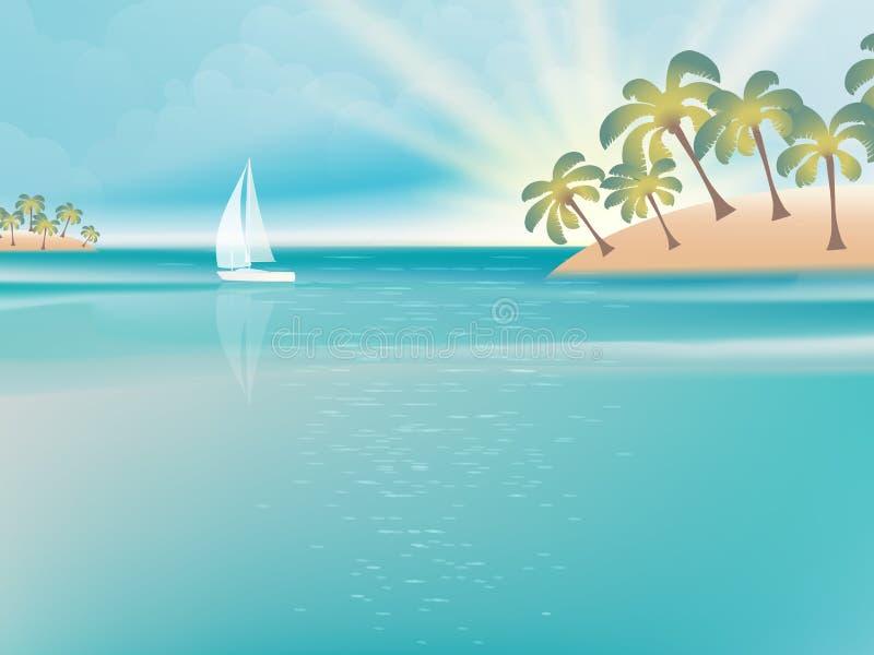 Νησί στο τυρκουάζ νερό με το γιοτ. EPS 10 διανυσματική απεικόνιση