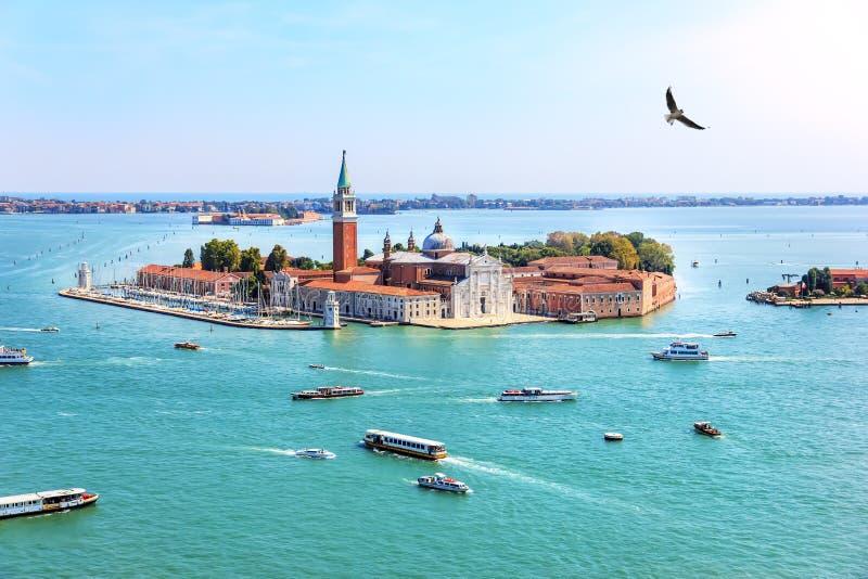 Νησί της Βενετίας του SAN Giorgio Maggiore, Ιταλία, όμορφη εναέρια άποψη στοκ εικόνα με δικαίωμα ελεύθερης χρήσης