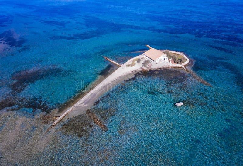 Νησί της Λευκάδας Άγιος Νικόλαος στα νησιά της Ελλάδας Ioanian όπως βλέπει στοκ φωτογραφίες