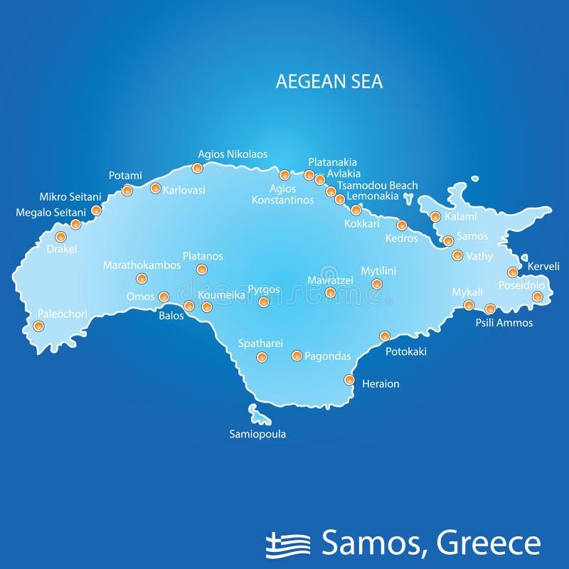 Νησί της Σάμου στην απεικόνιση χαρτών της Ελλάδας σε ζωηρόχρωμο διανυσματική απεικόνιση