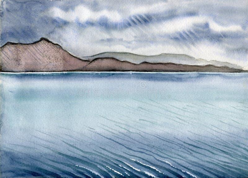 Νησί του βροχερού τοπίου της Skye με τους λόφους και τα κύματα νερού, Σκωτία, Αγγλία απεικόνιση αποθεμάτων