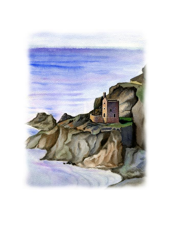 Νησί του παραδοσιακού σπιτιού της Skye, Σκωτία, Αγγλία Συρμένο χέρι τοπίο Watercolor ελεύθερη απεικόνιση δικαιώματος