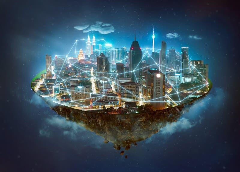 Νησί φαντασίας που επιπλέει στον αέρα ελεύθερη απεικόνιση δικαιώματος