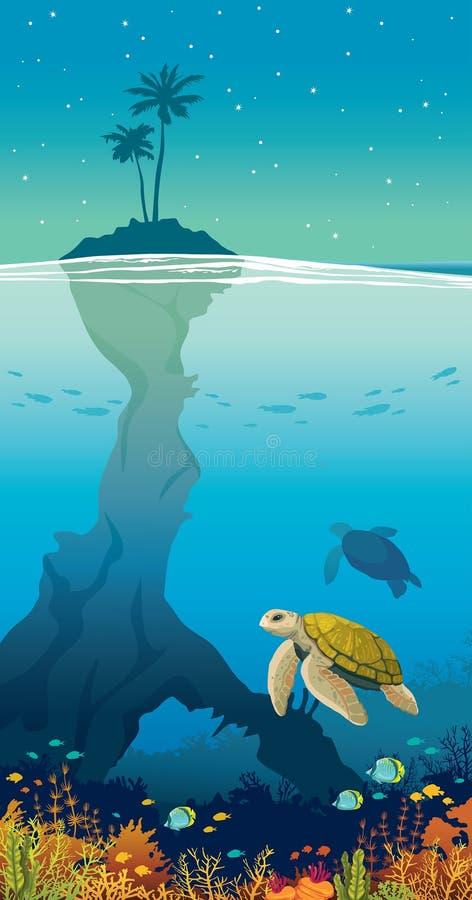 Νησί, φοίνικας, ουρανός, υποβρύχια άγρια φύση θάλασσας - κοράλλι, ψάρια, χελώνα απεικόνιση αποθεμάτων