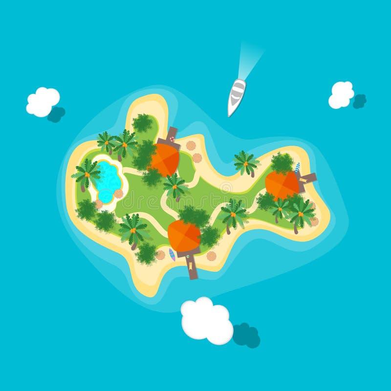 Νησί χρώματος κινούμενων σχεδίων στον ωκεανό διάνυσμα διανυσματική απεικόνιση