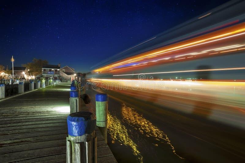 Νησί Nantucket νύχτας Stary λιμενικών πορθμείων στοκ φωτογραφίες