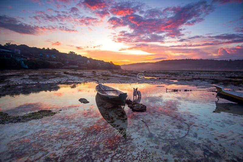 Νησιά του Μπαλί τοπίων στην παλίρροια αυγής του ωκεανού στοκ εικόνες