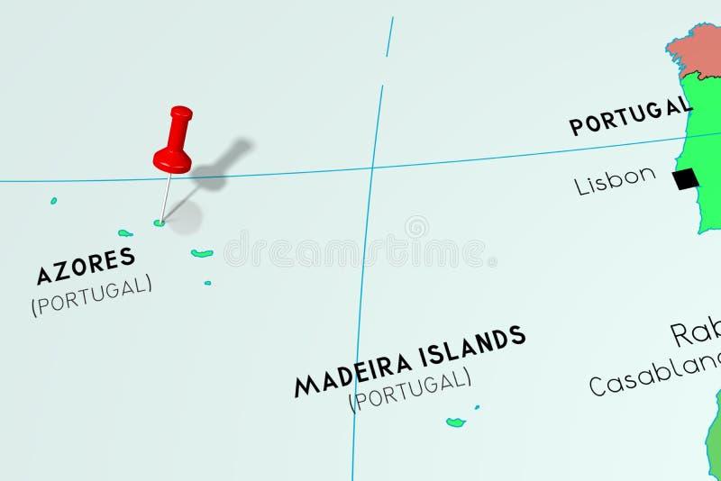 Νησιά των Αζορών, Πορτογαλία - που καρφώνεται στον πολιτικό χάρτη απεικόνιση αποθεμάτων