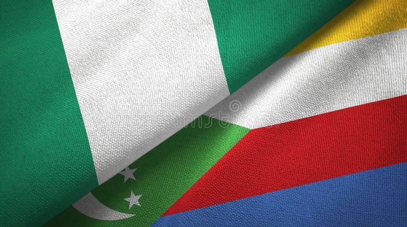 Νιγηρία και Κομόρες δύο υφαντικό ύφασμα σημαιών, σύσταση υφάσματος διανυσματική απεικόνιση
