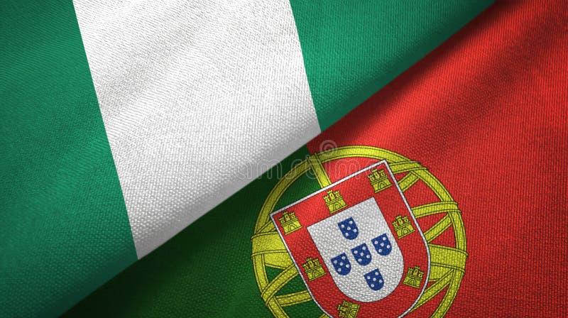 Νιγηρία και Πορτογαλία δύο υφαντικό ύφασμα σημαιών, σύσταση υφάσματος διανυσματική απεικόνιση