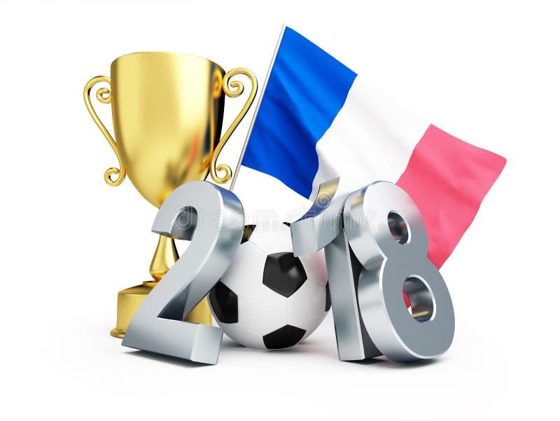 Νικητής ποδοσφαίρου της Γαλλίας 2018 σε μια άσπρη τρισδιάστατη απεικόνιση υποβάθρου, τρισδιάστατη απόδοση ελεύθερη απεικόνιση δικαιώματος