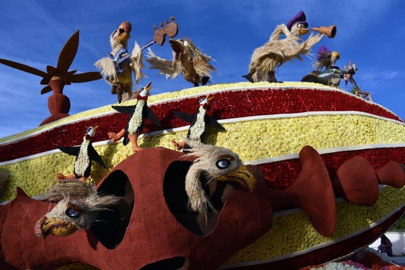Νικητής της Παρέλασης των Ρόουζ για το βραβείο Μπομπ Χόουπ, Πιο κλαψιάρικο και διασκεδαστικό άρμα στοκ φωτογραφία με δικαίωμα ελεύθερης χρήσης