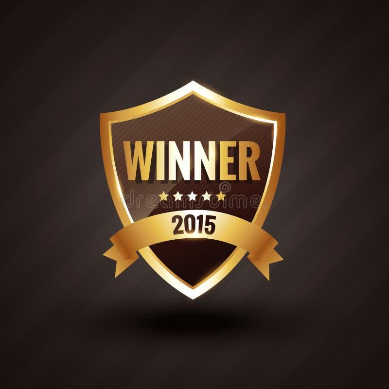 Νικητής του 2015 του χρυσού διακριτικού σχεδίου ετικετών διανυσματικού διανυσματική απεικόνιση