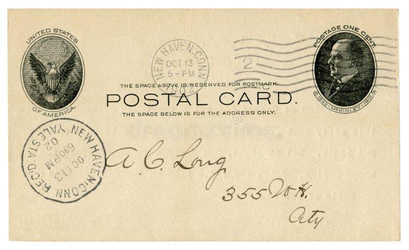Νιού Χάβεν, Κοννέκτικατ, οι ΗΠΑ - 13 Οκτωβρίου 1902: Η αμερικανική ιστορική ταχυδρομική κάρτα με το έμβλημα αετών, αποτύπωσε το γ στοκ εικόνα