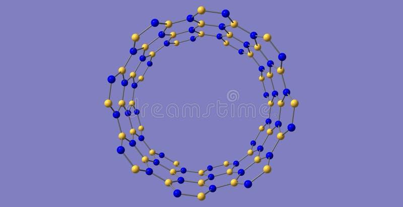 Νιτρίδιο βορίου nanotube στο μπλε υπόβαθρο απεικόνιση αποθεμάτων