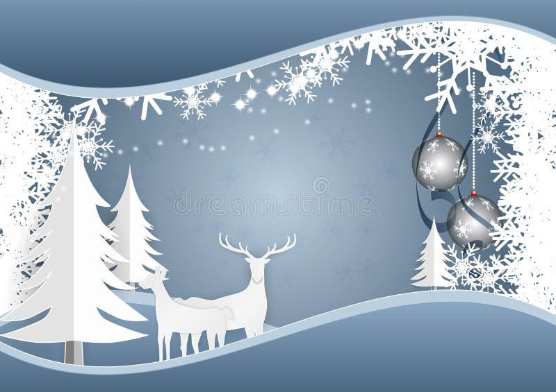 Νιφάδα και σφαίρα χιονιού με τα ελάφια στο μπλε υπόβαθρο για την περίοδο διακοπών Χριστουγέννων, διανυσματική απεικόνιση διανυσματική απεικόνιση