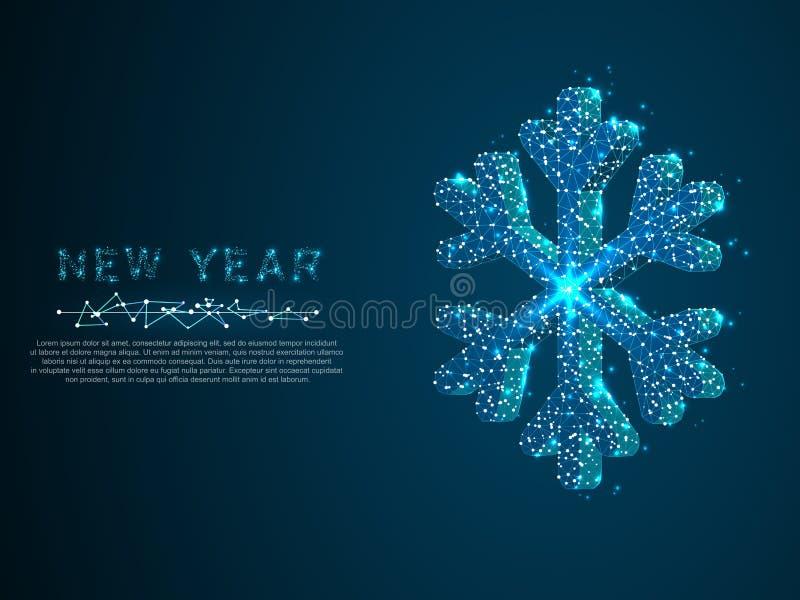Νιφάδα χιονιού Σύμβολο χειμερινών διακοπών, polygonal φως χαμηλό πολυ snowflake Χριστουγέννων Επιχειρησιακό wireframe πλέγμα διάν διανυσματική απεικόνιση