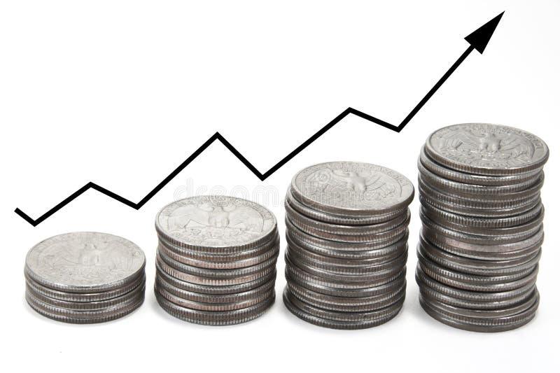 νομίσματα βελών πέρα από τις & στοκ φωτογραφία με δικαίωμα ελεύθερης χρήσης