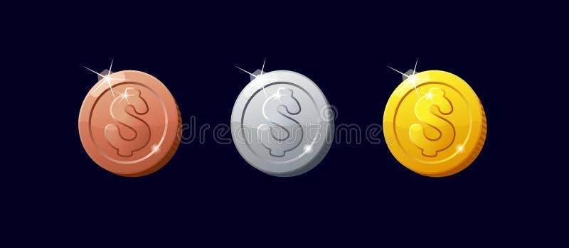 Νομίσματα εικονιδίων για τη διεπαφή παιχνιδιών διανυσματική απεικόνιση