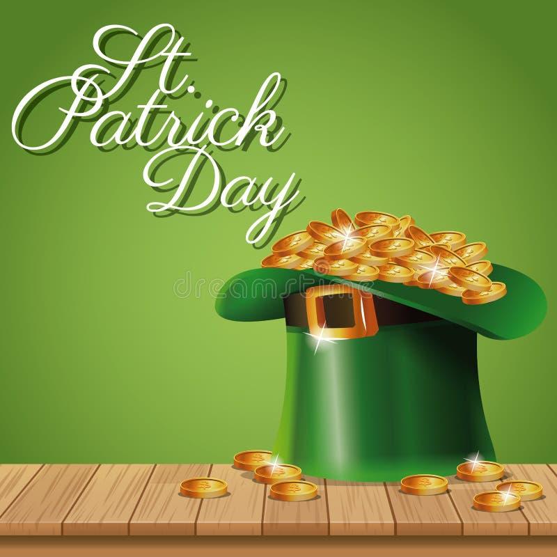 Νομίσματα καπέλων ημέρας αφισών ST Πάτρικ leprechaun στο ξύλινο πράσινο υπόβαθρο απεικόνιση αποθεμάτων