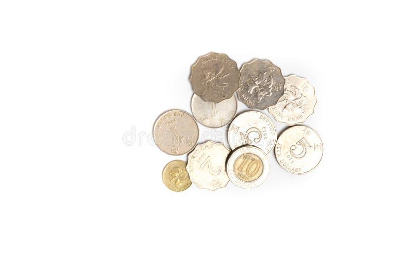 Νομίσματα δολαρίων Χονγκ Κονγκ που απομονώνονται στοκ εικόνες με δικαίωμα ελεύθερης χρήσης