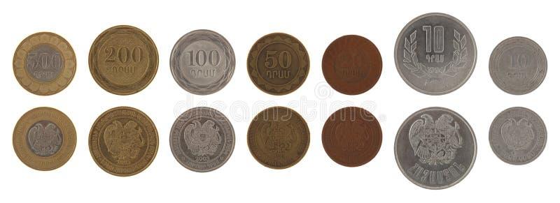 Νομίσματα που απομονώνονται αρμενικά στο λευκό στοκ φωτογραφία
