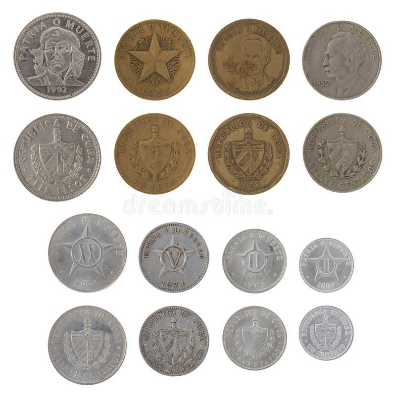 Νομίσματα που απομονώνονται κουβανικά στο λευκό στοκ εικόνα