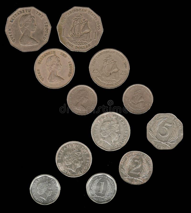 Νομίσματα που χρησιμοποιούνται στις ανατολικές Καραϊβικές Θάλασσες στοκ φωτογραφία