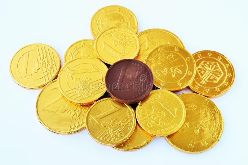 Νομίσματα σοκολάτας στοκ εικόνες με δικαίωμα ελεύθερης χρήσης