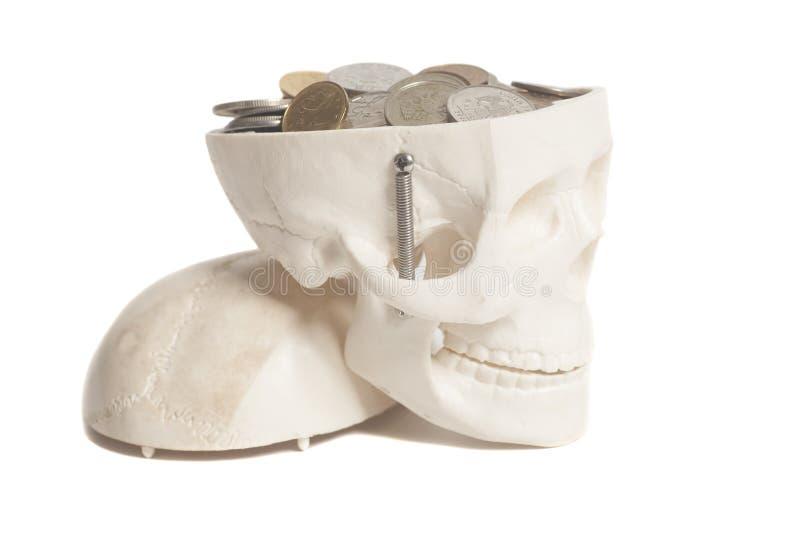 Νομίσματα στο κεφάλι κρανίων στοκ εικόνα με δικαίωμα ελεύθερης χρήσης