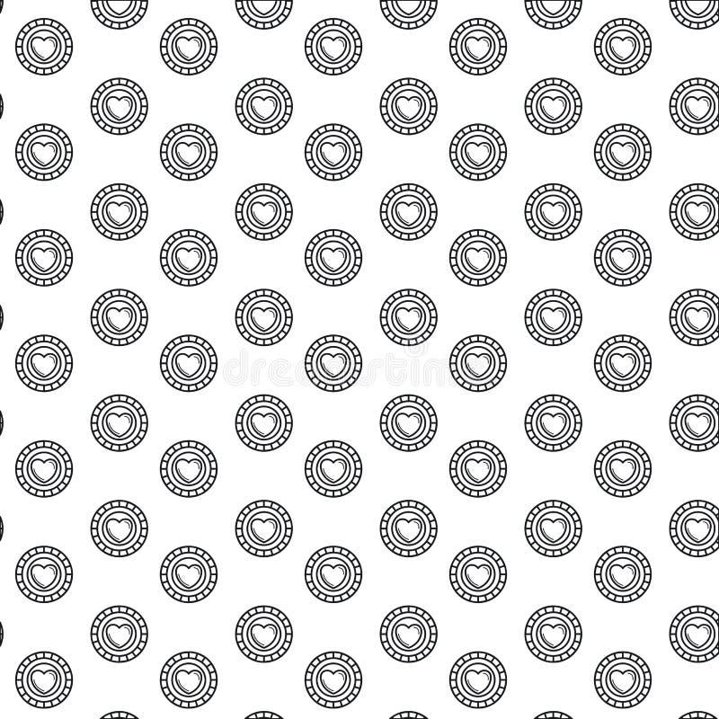Νομίσματα σχεδίων σκιαγραφιών με το σύμβολο καρδιών μέσα απεικόνιση αποθεμάτων