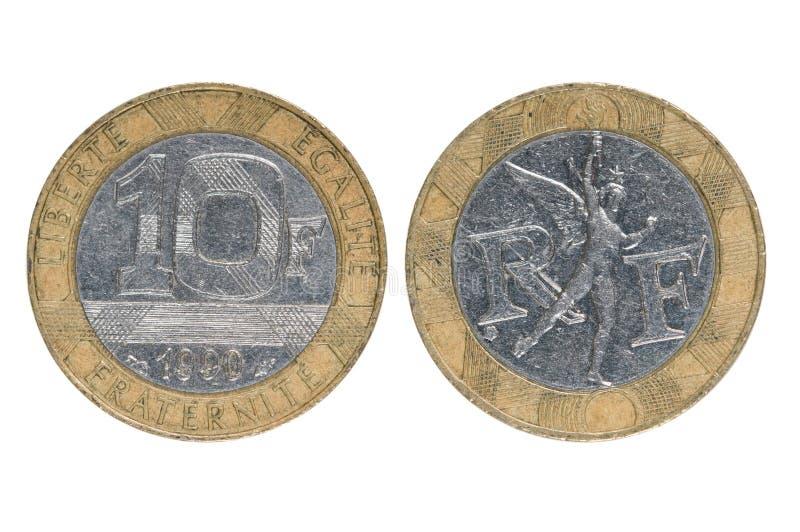 Νομίσματα της Γαλλίας δέκα φράγκα στοκ εικόνες