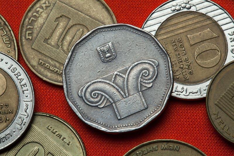 Νομίσματα του Ισραήλ Ιοντικό κεφάλαιο στηλών στοκ εικόνα